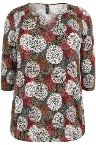 PAPRIKA Multi Circle Print Jersey Top With Silver Chain Trim