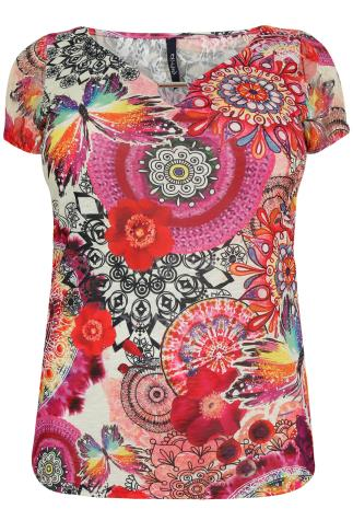 PAPRIKA Multi Coloured Carnival Print Lace Sleeved Top