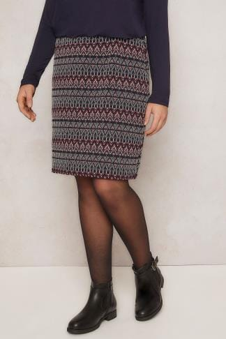 Pencil Skirts PAPRIKA Multi Diamond Pattern Textured Stretch Skirt 138776