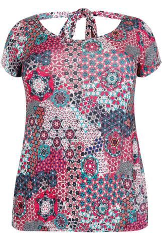PAPRIKA Multi Floral Kaleidoscope Print Top With Tie Back
