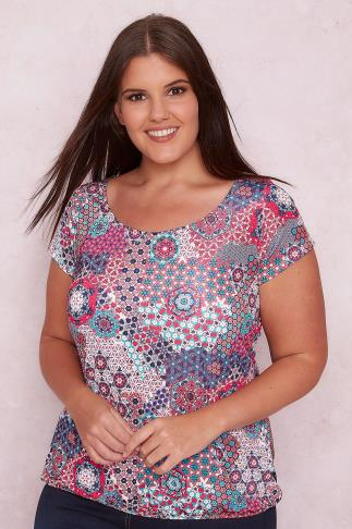 Day PAPRIKA Multi Floral Kaleidoscope Print Top With Tie Back 138482