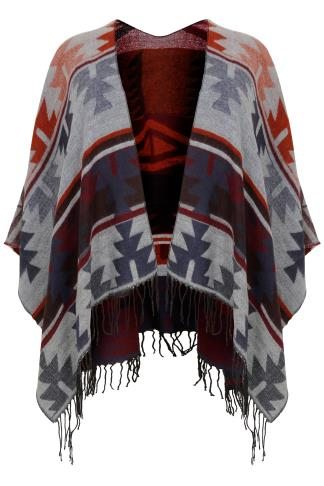 PAPRIKA Multi Patterned Shawl With Tassels