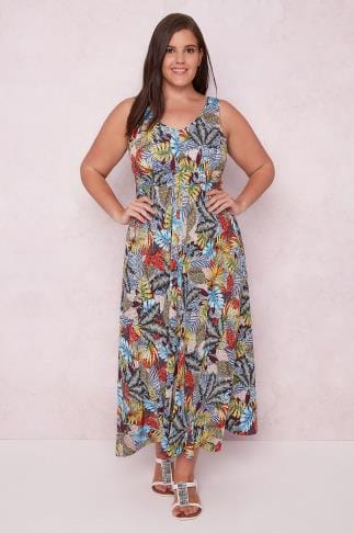 PAPRIKA Multi Tropical Print Maxi Dress With Tie Waist 138610