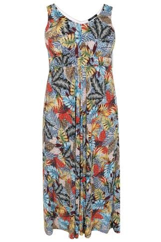 PAPRIKA Multi Tropical Print Maxi Dress With Tie Waist
