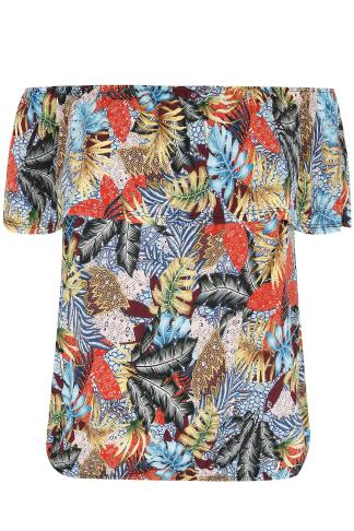 PAPRIKA Multicoloured Tropical Print Bardot Jersey Frill Top