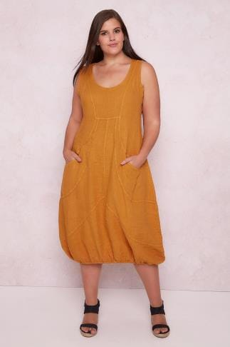 Swing & Shift Dresses PAPRIKA Mustard Yellow Linen Sleeveless Pocket Dress With Bubble Hem 138567
