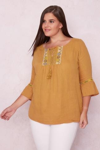 Day Tops PAPRIKA Mustard Yellow Smock Top With Embroidered Neckline 138604