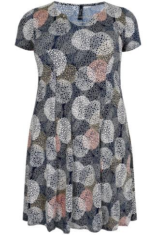 PAPRIKA Navy Circle Print Jersey Dress With Silver Chain Trim