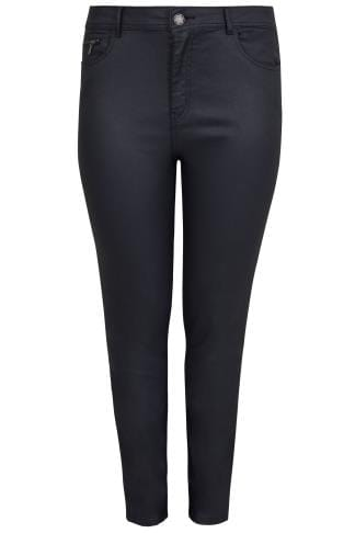 PAPRIKA Navy Coated Slim Leg Jeans With Pockets