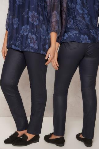 Straight Leg PAPRIKA Navy Coated Slim Leg Jeans With Pockets 138769