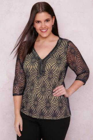 PAPRIKA Navy Floral Cut Out Top With Embellished Neckline