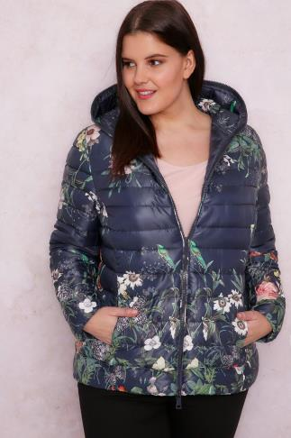 PAPRIKA Navy Floral Print Quilted Puffer Jacket With Hood