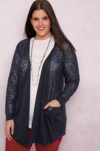 PAPRIKA Navy Knitted Cardigan With Pockets