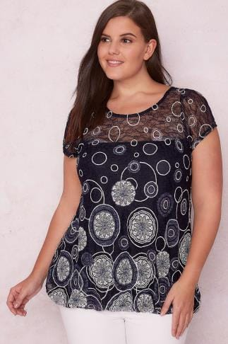 PAPRIKA Navy & Multi Lace Overlay Circle Print Top 138607