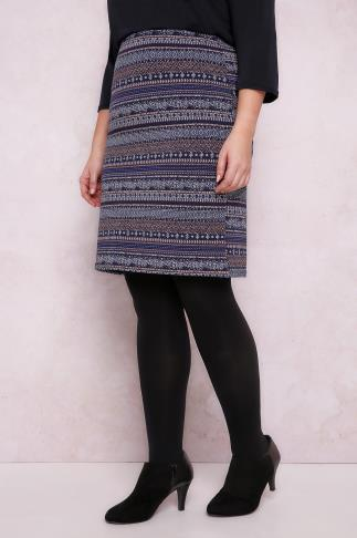 PAPRIKA Navy & Multi Tribal Print Sparkle Skirt