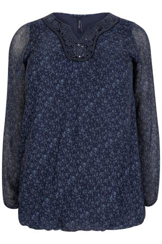 PAPRIKA Navy Silk Floral Print Blouse With Crochet Neckline - Made In Italy