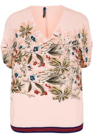 PAPRIKA Nude Pink Floral Print Slouch Fit Top With Contrast Hem