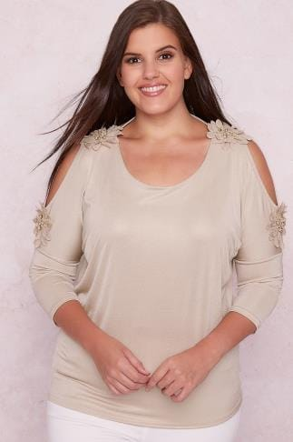 PAPRIKA Nude Pink Shimmer Cold Shoulder Top With Floral Detail 138566