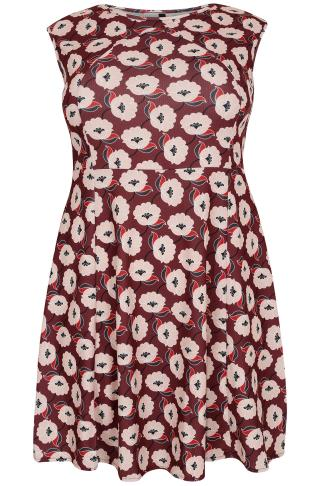 PAPRIKA Burgundy & Pale Pink Floral Print Shift Dress - Made In Italy