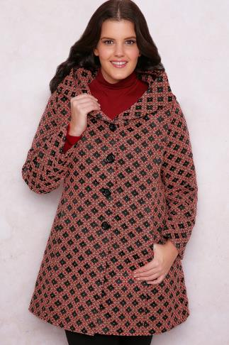 PAPRIKA Red, Black & Brown Patterned Coat With Hood 138122