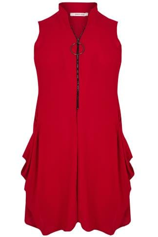 Tunic Dresses PAPRIKA Red Front Zip Through Tunic Dress With Drop Pockets 138774