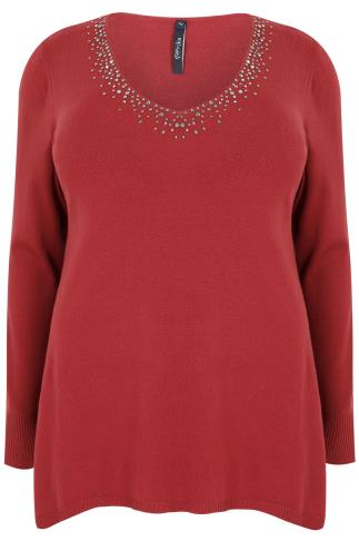 PAPRIKA Red Long Sleeve Jumper With Embellished V Neckline