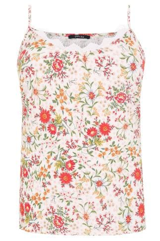 PAPRIKA Red & Multi Floral Print Cami Top With Lace Trim