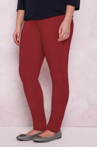 PAPRIKA Red Straight Leg Jeggings With Elasticated Waistband