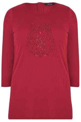PAPRIKA Red Top With Beaded Owl Figure & 3/4 Length Sleeves