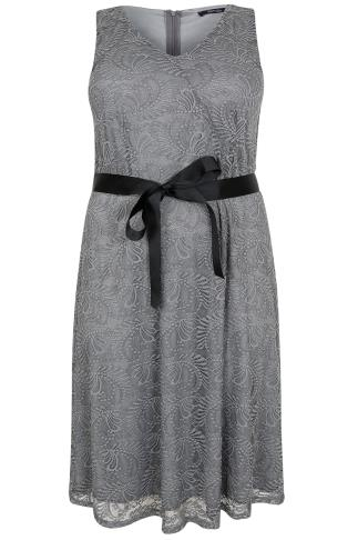 PAPRIKA Silver Lace Dress With Black Waist Tie