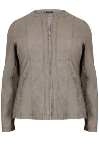 PAPRIKA Taupe Faux Leather Biker Jacket