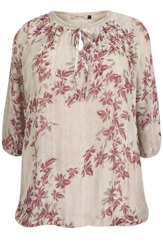 Blusen & Hemden PAPRIKA Taupe Floral Print Top With Sequin Embellished Tie Neckline 138820