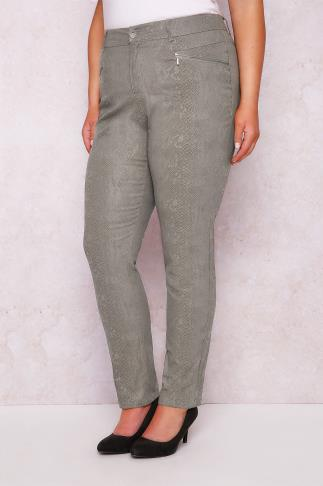 PAPRIKA Taupe Snake Print Straight Leg Trousers With Zip Pockets