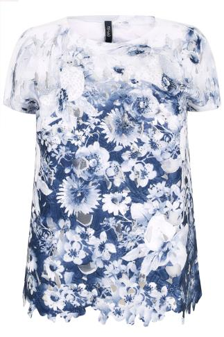 PAPRIKA White & Blue Floral Cut Out Top With Diamante Embellishment
