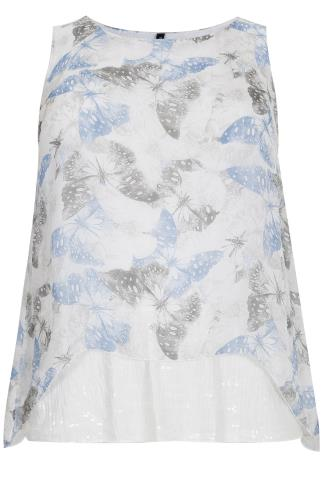 PAPRIKA White, Blue & Grey Silk Mix Butterfly Print Top With Sequin Detail - Made In Italy