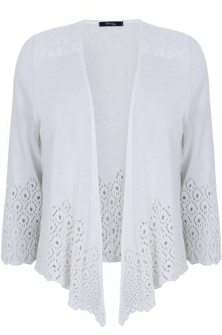 PAPRIKA White Crochet Cool Cotton Mix Shrug With 3/4 Length Sleeves