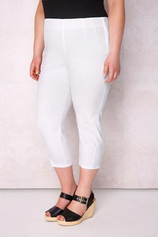PAPRIKA White Cropped Cotton Mix Trousers With Side Zip