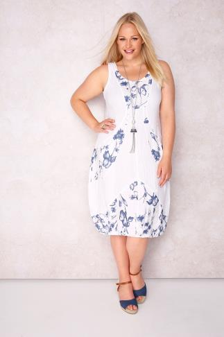 PAPRIKA White Floral Print Sleeveless Dress - Made In Italy