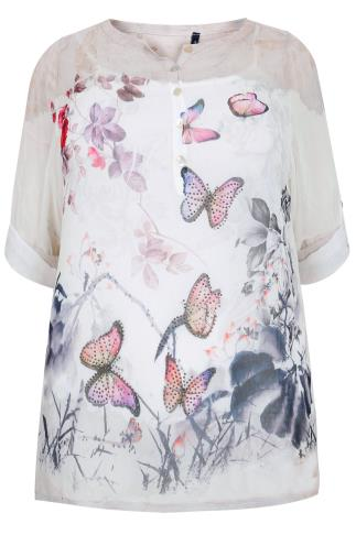 PAPRIKA White, Grey & Pink Butterfly Print Blouse With Cami - Made In Italy