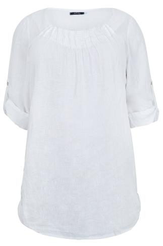 PAPRIKA White Linen Top With Pleated Neckline - Made In Italy