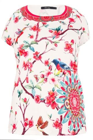 PAPRIKA White & Multi Bird & Blossom Print Top With Diamante Gem Neckline