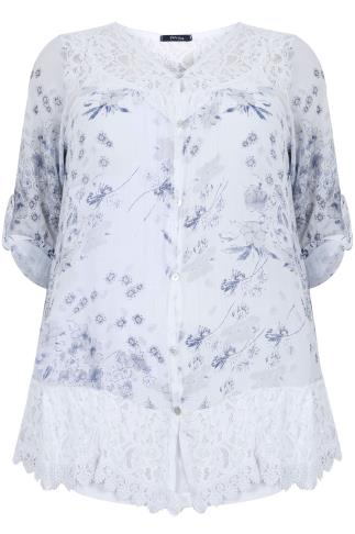 PAPRIKA White & Navy Floral Lace Frill Silk Mix Blouse With White Cami - Made In Italy