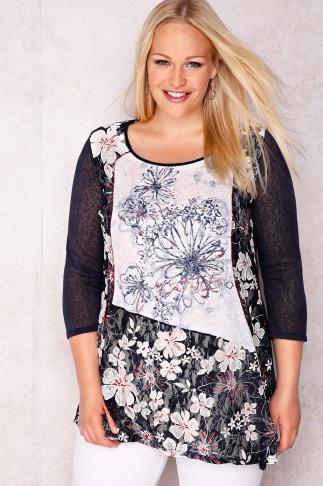 PAPRIKA White & Navy Floral Lace Panelled Longline Top With Asymmetric Hem