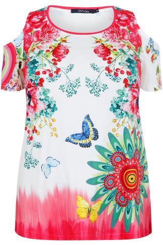 PAPRIKA White & Pink Floral & Butterfly Print Cotton Mix Cold Shoulder Top