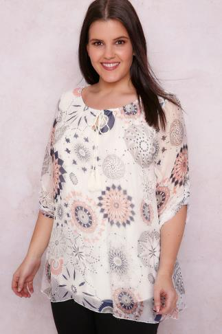 PAPRIKA White & Pink Mixed Print Gypsy Blouse