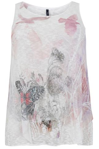 PAPRIKA White & Pink Sleeveless Netted Top With Floral Print - Made In Italy
