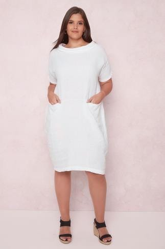 Midi Dresses PAPRIKA White Smock Dress With Scooped Neckline 138670