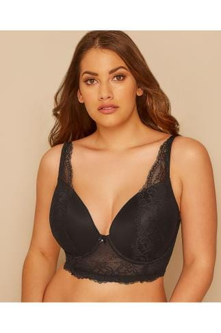 Wired Bras PARFAIT Black Underwired Sandrine Plunge Bra With Lace Detail 138466