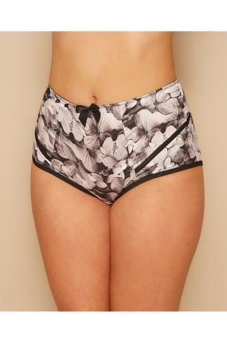 Briefs Knickers PARFAIT Grey & Black Floral Print High Waisted Charlotte Brief 138465