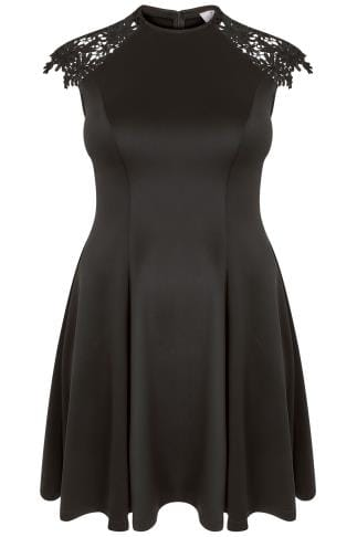 PRASLIN Black Skater Dress With Lace Shoulders
